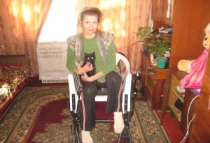 Valentina in her new wheelchair!