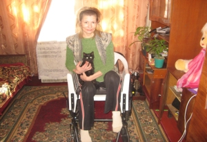 Valentina in her new wheelchair!
