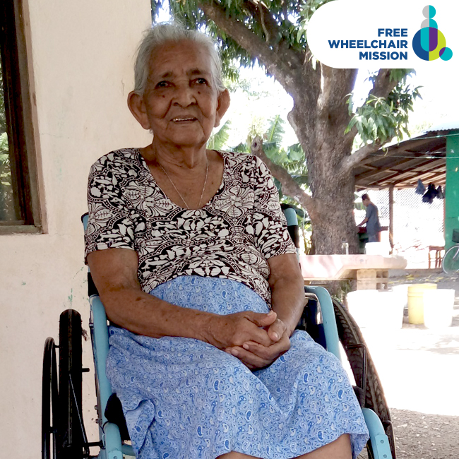 91-year-old Eugenia receives a new wheelchair.
